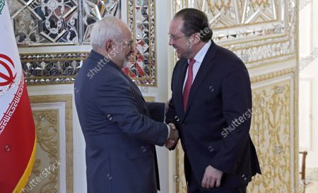 Stock Picture of Iran's Foreign Minister Mohammad Javad Zarif (L) welcomes Austrian Foreign Minister Alexander Schallenberg (R) at the foreign ministry office in Tehran, Iran, 23 February 2020. Schallenberg is in Tehran to meet with Iranian officials.