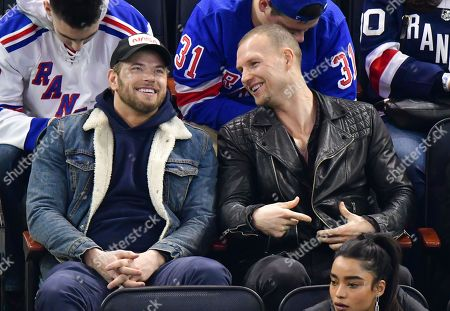 Kellan Lutz and guest attend San Jose Sharks vs New York Rangers game at Madison Square Garden