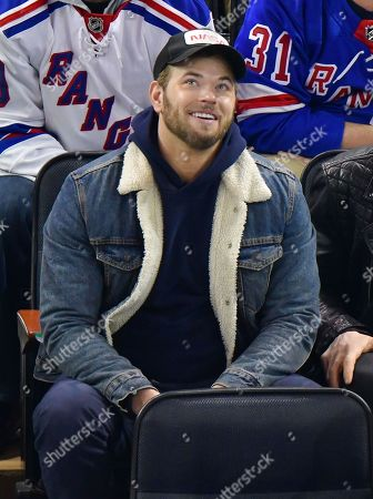 Kellan Lutz attends San Jose Sharks vs New York Rangers game at Madison Square Garden