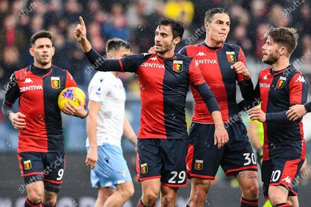 Genoa's Italian midfielder Francesco Cassata (2nd from left) celebrates with his teammates Paraguayan forward Antonio Sanabria, Italian forward Andrea Favilli and Danish midfielder Lasse Schone after scoring a goal during the Italian Serie A soccer match Genoa Cfc vs Ss Lazio at Luigi Ferraris stadium in Genoa, Italy, 23 February 2020.