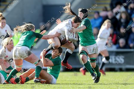 England Women vs Ireland Women. England's Leanne Riley with Edel McMahon, Katie Fitzhenry and Ciara Griffin of Ireland