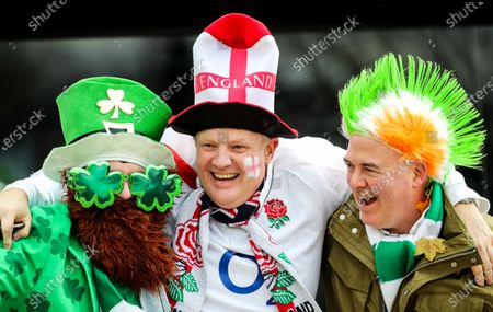 England vs Ireland. England fan Paul Hill with Ireland fans Feargall O'Connell and Eddie Gallagher