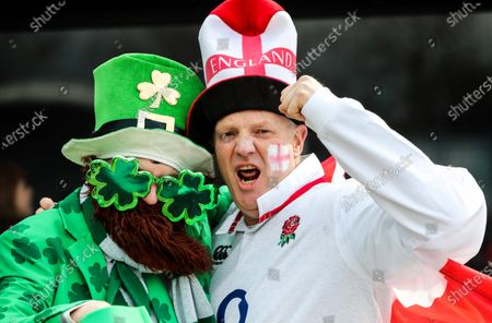 England vs Ireland. England fan Paul Hill with Ireland fans Feargall O'Connell