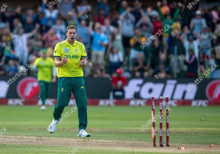 South Africa's bowler Anrich Nortje celebrates after bowling Australia's batsman Ashton Agar for 1 run during the 2nd T20 cricket match between South Africa and Australia at St George's Park in Port Elizabeth, South Africa