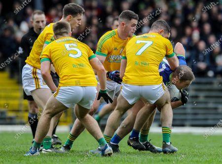 Kerry vs Meath. Kerry's Stephen O'Brien under pressure