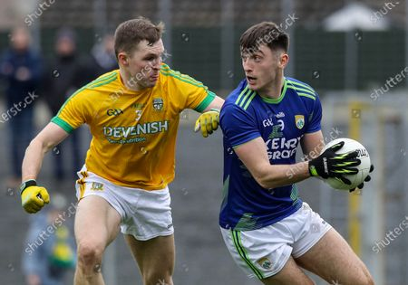 Kerry vs Meath. Kerry's David Shaw and Conor McGill of Meath