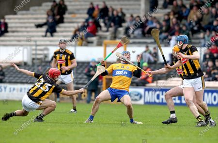 Kilkenny vs Clare. Clare's Shane O'Donnell is tackled by Bill Sheehan and Billy Ryan of Kilkenny