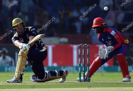 Shane Watson of Quetta Gladiators plays a shot, during  Pakistan Super League (PSL) T20 series match against Karachi Kings, in Karachi, Pakistan, 23 February 2020.