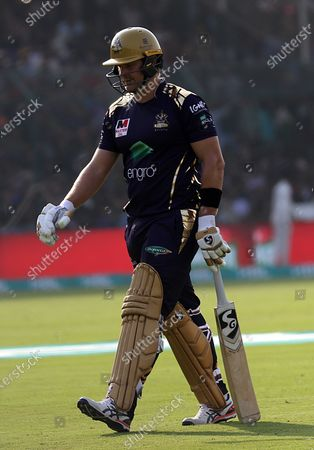 Shane Watson of Quetta Gladiators leaves after he was out by Umaid Asif of Karachi Kings, during  Pakistan Super League (PSL) T20 series match, in Karachi, Pakistan, 23 February 2020.
