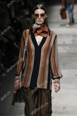 Stock Photo of Lindsey Wixson on the catwalk