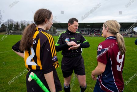 Stock Image of Loreto Kilkenny vs Presentation Athenry. Ciara O'Keeffe of Loreto with referee Paul Ryan and Presentation College Athenry's Sarah McCartin