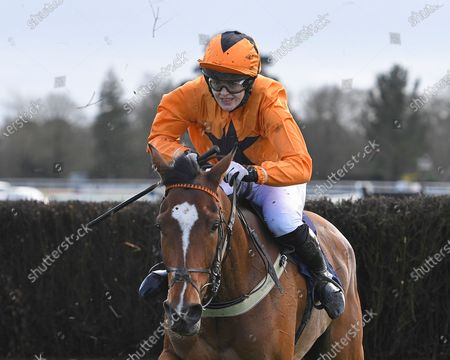 Foxpro ridden by Lizzie Kelly and trained by Jane Williams clears the last in The Racehorse Sanctuary Remembers Moorcroft Boy Beginners' Chase during Horse Racing at Fontwell Park Racecourse on 23rd February 2020