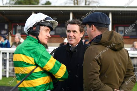 Jockey Barry Geraghty left chats to AP McCoy in the Parade ring prior to  The Sustain Our Sport Adopt An Ex-Racehorse Novices' Hurdle  during Horse Racing at Fontwell Park Racecourse on 23rd February 2020
