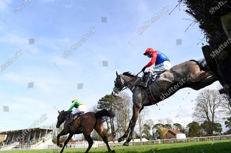 Stock Photo of Winner of The Sussex Equine Hospital Handicap Chase  Echo Watt (3) ridden by William Kennedy and trained by Richard Hobson jumps the last behind Big Time Frankie ridden by Rex Dingle  during Horse Racing at Fontwell Park Racecourse on 23rd February 2020