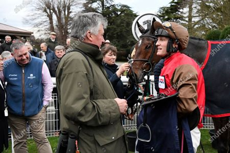 Trainer Paul Nicholls chats to Jockey and Owner of Bob and Co David Maxwell n the Winners enclose after Winning The Fairmile Snacks Open Hunters' Chase during Horse Racing at Fontwell Park Racecourse on 23rd February 2020