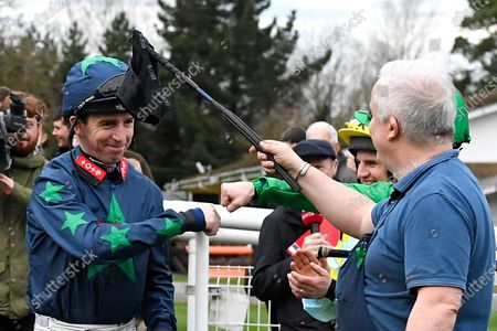 Jockey Leighton Aspell is clapped into the parade ring for his final race before retiring during Horse Racing at Fontwell Park Racecourse on 23rd February 2020