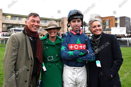 Jockey Leighton Aspell and connections in the parade ring prior to his final race before retiring during Horse Racing at Fontwell Park Racecourse on 23rd February 2020