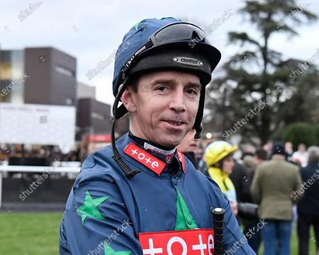 Jockey Leighton Aspell in the parade ring prior to his final race before retiring during Horse Racing at Fontwell Park Racecourse on 23rd February 2020