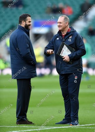 Ireland Head Coach Andy Farrell speaks with England Rugby Team Manager Richard Hill during the pre-match warm-up