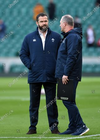 Stock Picture of Ireland Head Coach Andy Farrell speaks with England Rugby Team Manager Richard Hill during the pre-match warm-up