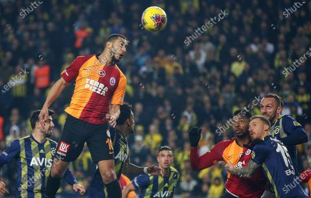 Galatasaray's Younes Belhanda (L) in action during the Turkish Super League soccer derby match between Fenerbahce and Galatasaray in Istanbul, Turkey, 23 February 2020.