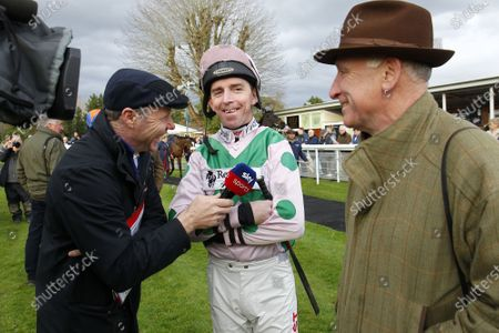 Stock Picture of Leighton Aspell with Mick Fitzgerald and Oliver Sherwood at Fontwell on Leighton's last day riding.