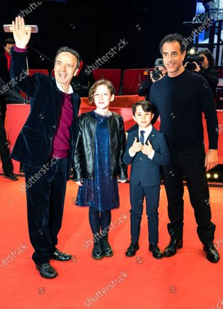 Roberto Benigni, Alida Balardi Calabria, Federico Ielapi and director Matteo Garrone arrive for the premiere of 'Pinocchio' during the 70th annual Berlin International Film Festival (Berlinale), in Berlin, Germany, 23 February 2020. The movie is presented in the Berlinale Special section at the Berlinale that runs from 20 February to 01 March 2020.