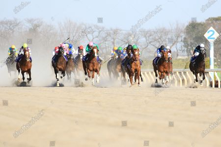 , Tokyo, Mozu Ascot (fourth from right) with Christophe Lemaire up wins the February Stakes at Fuchu racecourse, JPN.