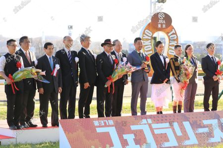 , Tokyo, Winners presentation. Mozu Ascot with Christophe Lemaire up wins the February Stakes at Fuchu racecourse, JPN.