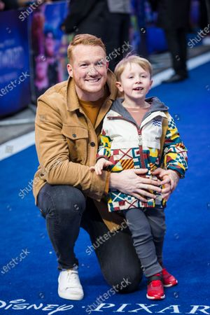 British athlete Greg Rutherford and his son Milo attend the UK premiere of 'Onward' at Curzon Mayfair in London, Britain, 23 February 2020. The film will be release in British Cinemas on 06 March.