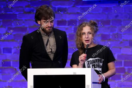 Maria Alyokhina (R) from Pussy Riot speaks during the Cinema for Peace gala during the 70th annual Berlin International Film Festival (Berlinale), in Berlin, Germany, 23 February 2020.