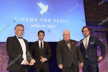 Lech Walesa (2-R), Daniel T. Jones(2-L), Jan Josef Liefers (R) pose during the Cinema for Peace Gala during the 70th annual Berlin International Film Festival (Berlinale), in Berlin, Germany, 23 February 2020.