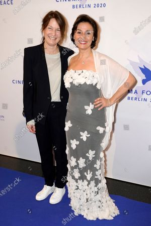 Sandra Maischberger (R) and Sherry Hormann attend the Cinema for Peace gala during the 70th annual Berlin International Film Festival (Berlinale), in Berlin, Germany, 23 February 2020.