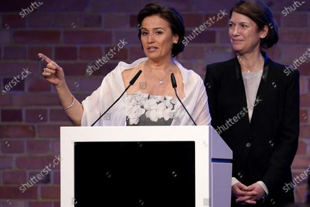 Stock Image of Sandra Maischberger speaks during the Cinema for Peace gala during the 70th annual Berlin International Film Festival (Berlinale), in Berlin, Germany, 23 February 2020.