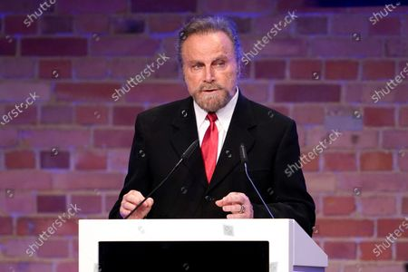 Stock Image of Franco Nero speaks during the Cinema for Peace gala during the 70th annual Berlin International Film Festival (Berlinale), in Berlin, Germany, 23 February 2020.