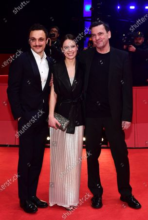 Franz Rogowski, Paula Beer, and director Christian Petzold arrive for the premiere of 'Undine' during the 70th annual Berlin International Film Festival (Berlinale), in Berlin, Germany, 23 February 2020. The movie is presented in the Official Competition at the Berlinale that runs from 20 February to 01 March 2020.