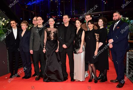 Franz Rogowski, Julia Franz Richter, Christoph Zrenner , Rafael Stachowiak, Anne Ratte-Polle, director Christian Petzold, Paula Beer, Enno Trebs, Maryam Zaree, Bita Steinjan, and Jose Barros  arrive for the premiere of 'Undine' during the 70th annual Berlin International Film Festival (Berlinale), in Berlin, Germany, 23 February 2020. The movie is presented in the Official Competition at the Berlinale that runs from 20 February to 01 March 2020.