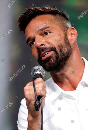 Puerto Rican artist Ricky Martin speaks during a press conference prior his show at 61st edition of Vina del Mar International Song Festival, in Vina del Mar, Chile, 23 February 2020. The six day festival will have with the participation of Ricky Martin, Maroon 5, Pablo Alboran and Ozuna, among others.