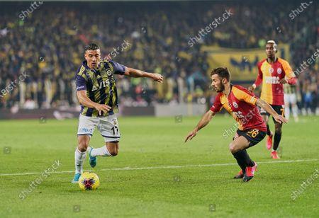 Nabil Dirar of Fenerbahce SK and Marcelo Saracchi of Galatasaray SK during Fenerbahçe against Galatasaray on Åzükrü SaracoÄYlu Stadium, Istanbul, Turkey