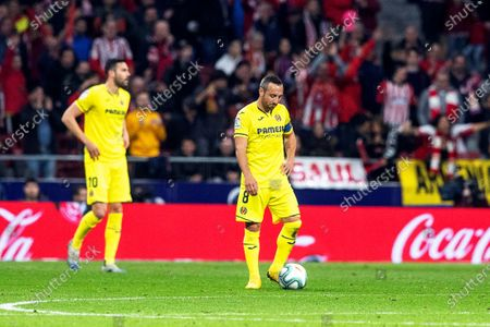 Villarreal's Santi Cazorla (R) reacts during the Spanish La Liga soccer match between Atletico Madrid and Villarreal CF at Metropolitano stadium in Madrid, Spain, 23 February 2020.