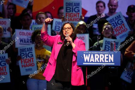 Stock Image of R m. Colorado State Sen. Julie Gonzalez, D-Denver, introduces Democratic presidential candidate Elizabeth Warren at a campaign rally, in Denver