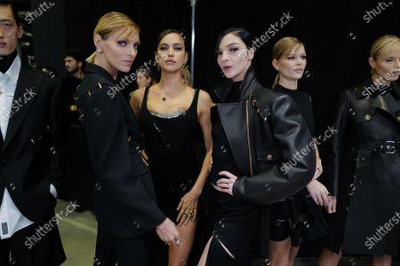 Stock Photo of Anja Rubik, Irina Shayk and Mariacarla Boscono backstage