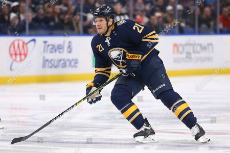 Buffalo Sabres forward Kyle Okposo (21) skates during the first period of an NHL hockey game against the Winnipeg Jets, in Buffalo, N.Y