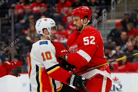 Editorial image of Flames Red Wings Hockey, Detroit, USA - 23 Feb 2020