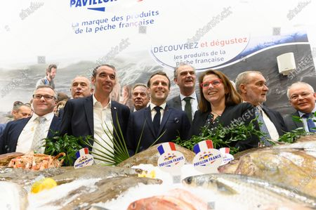 Stock Image of French Agriculture and Food Minister Didier Guillaume, Eric Bothorel, Jacques Woci, Emmanuel Macron and guests