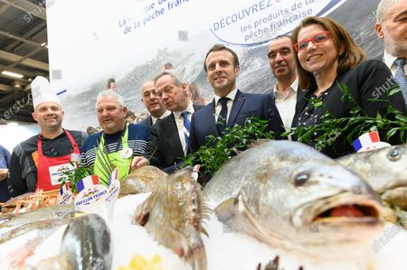 Stock Photo of French Agriculture and Food Minister Didier Guillaume, Jacques Woci, Emmanuel Macron, Eric Bothorel and guests