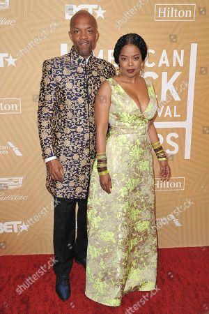 Tariq Walker, Malinda Williams. Tariq Walker, left, and Malinda Williams attend the American Black Film Festival Honors Awards at the Beverly Hilton Hotel, in Beverly Hills, Calif