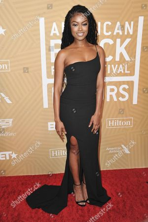 Stock Picture of Javicia Leslie attends the American Black Film Festival Honors Awards at the Beverly Hilton Hotel, in Beverly Hills, Calif