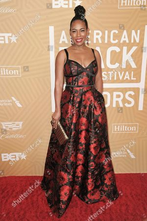Angela Lewis attends the American Black Film Festival Honors Awards at the Beverly Hilton Hotel, in Beverly Hills, Calif