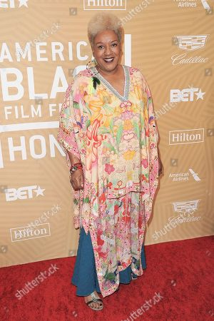 Stock Picture of Pounder attends the American Black Film Festival Honors Awards at the Beverly Hilton Hotel, in Beverly Hills, Calif